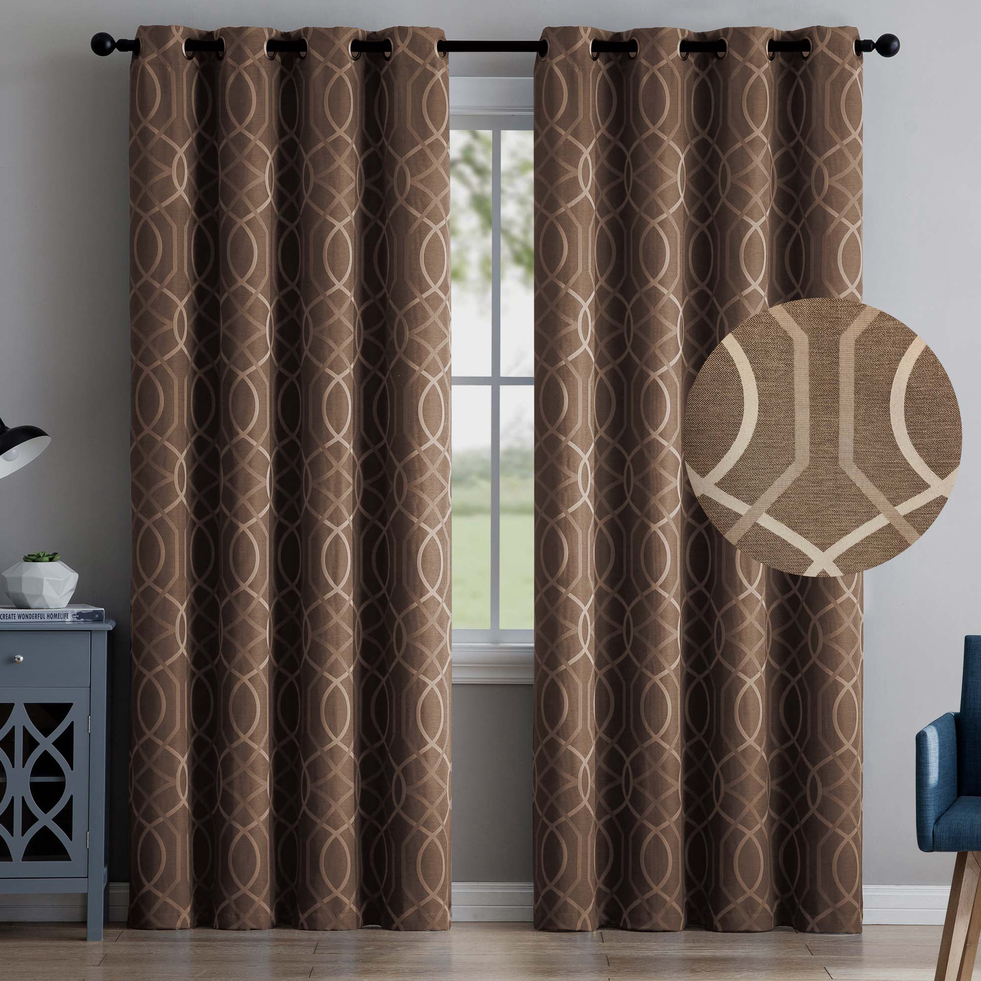 "2 Blackout Room Darkening Window Curtains 84"" Length Brown Embossed Trellis Grommet Panel Pair Drapes by"