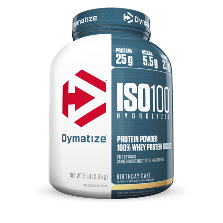 Dymatize ISO 100 Hydrolyzed Whey Protein Isolate Powder Birthday Cake 25g Serving 5 Lb