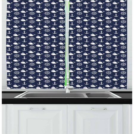 Navy Blue Curtains 2 Panels Set, Maritime Pattern with Whales Helms Anchors Nautical Elements Deep Sea Life, Window Drapes for Living Room Bedroom, 55W X 39L Inches, Navy Blue White, - Nautical Curtain