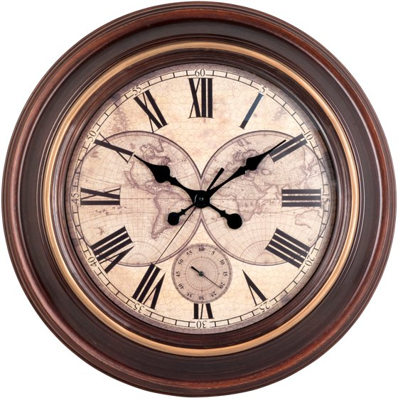 Better Homes And Gardens 23 Quot Round Map Dial Clock With Sub