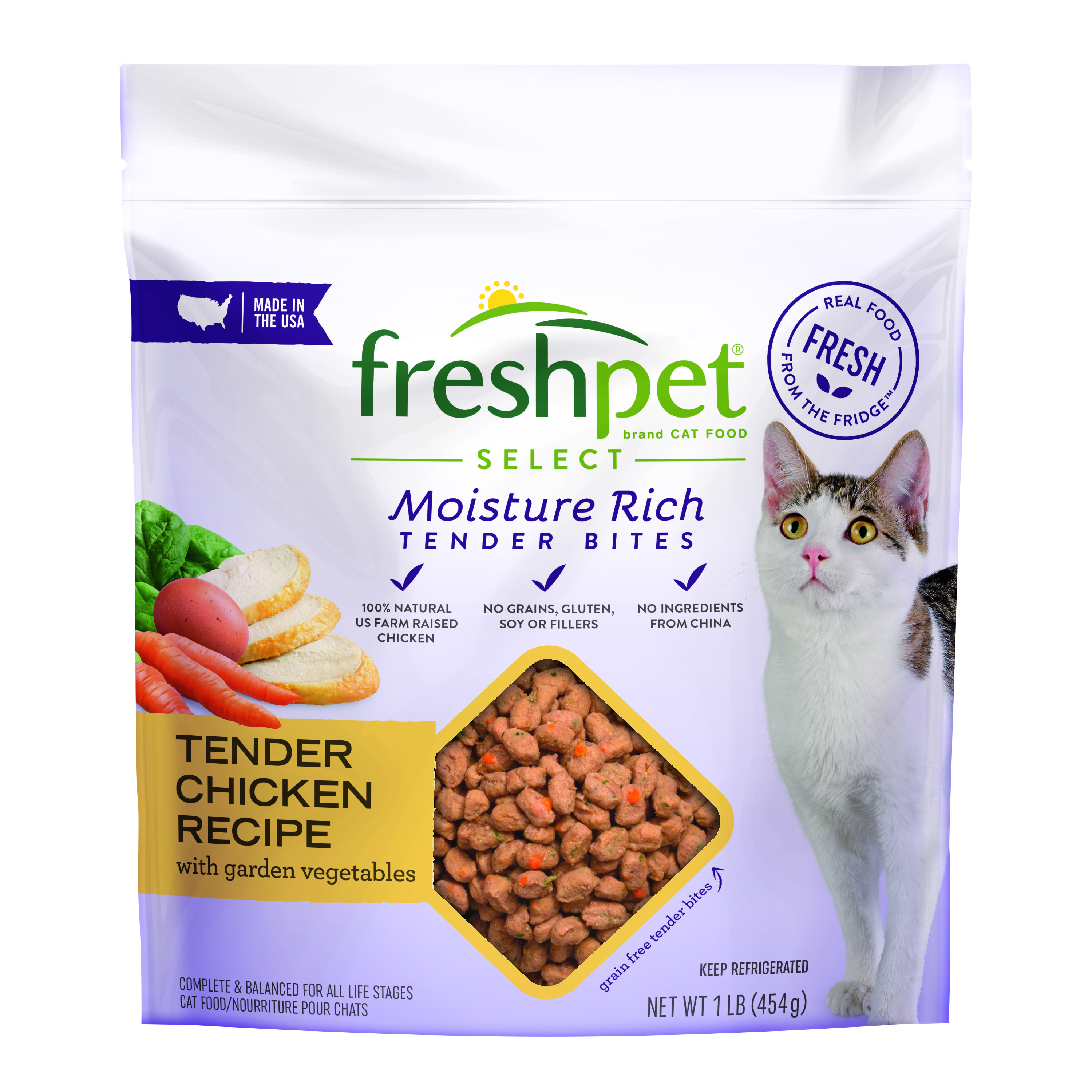 Freshpet Select Tender Chicken with Garden Vegetables Roasted Meals for Cats, 1.0 Lb