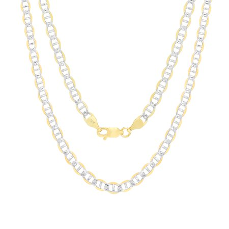 """14K Yellow Gold Solid 5mm Pave Diamond Cut Mariner Chain Pendant Necklace, 18""""- 26"""""""