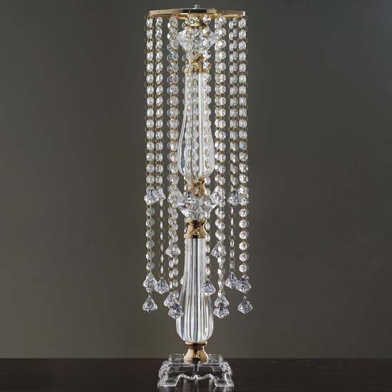 "Efavormart Gold 19 Hanging Crystals with Large Teardrops Diamond Crystal Chandelier Wedding Centerpiece - 28"" tall"