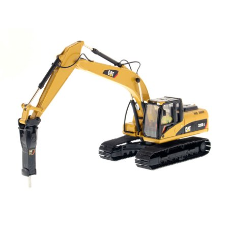 Caterpillar Hydraulic Excavator (CAT Caterpillar 330D L Hydraulic Excavator with Hammer Core Classics Series with Operator 1/50 Diecast Model by)