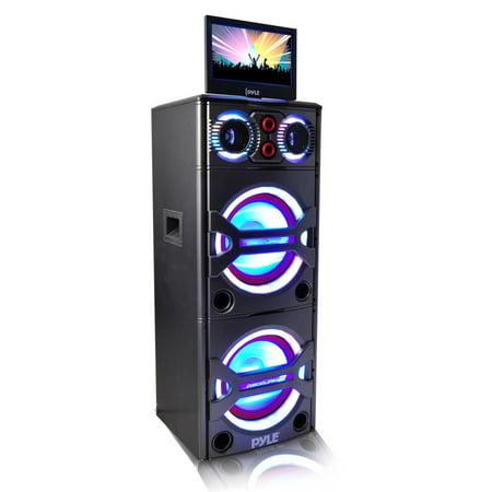 - Pyle PKRK215 - Bluetooth PA Loudspeaker Karaoke Entertainment Audio & Video System, Active Powered Speaker, CD/DVD Player
