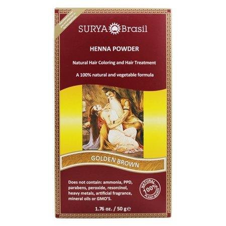 Surya Brasil - Henna Powder Natural Hair Coloring Golden Brown - 1.76 oz.