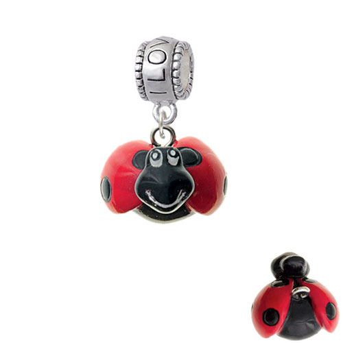 Resin Red & Black Ladybug Sweetie - I Love You Charm Bead
