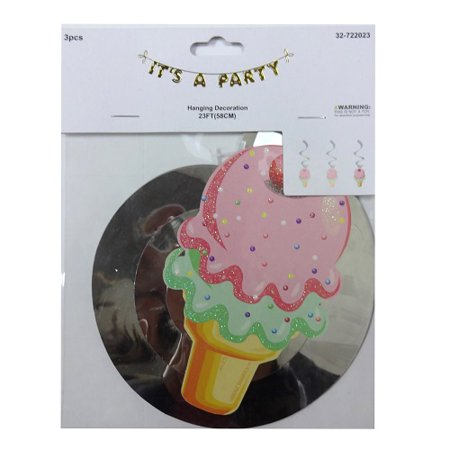 New 822445   It S A Party Ice Cream Cup Banner 3Pc (36-Pack) Party Supplies Cheap Wholesale Discount Bulk Party Supplies Party Supplies Square