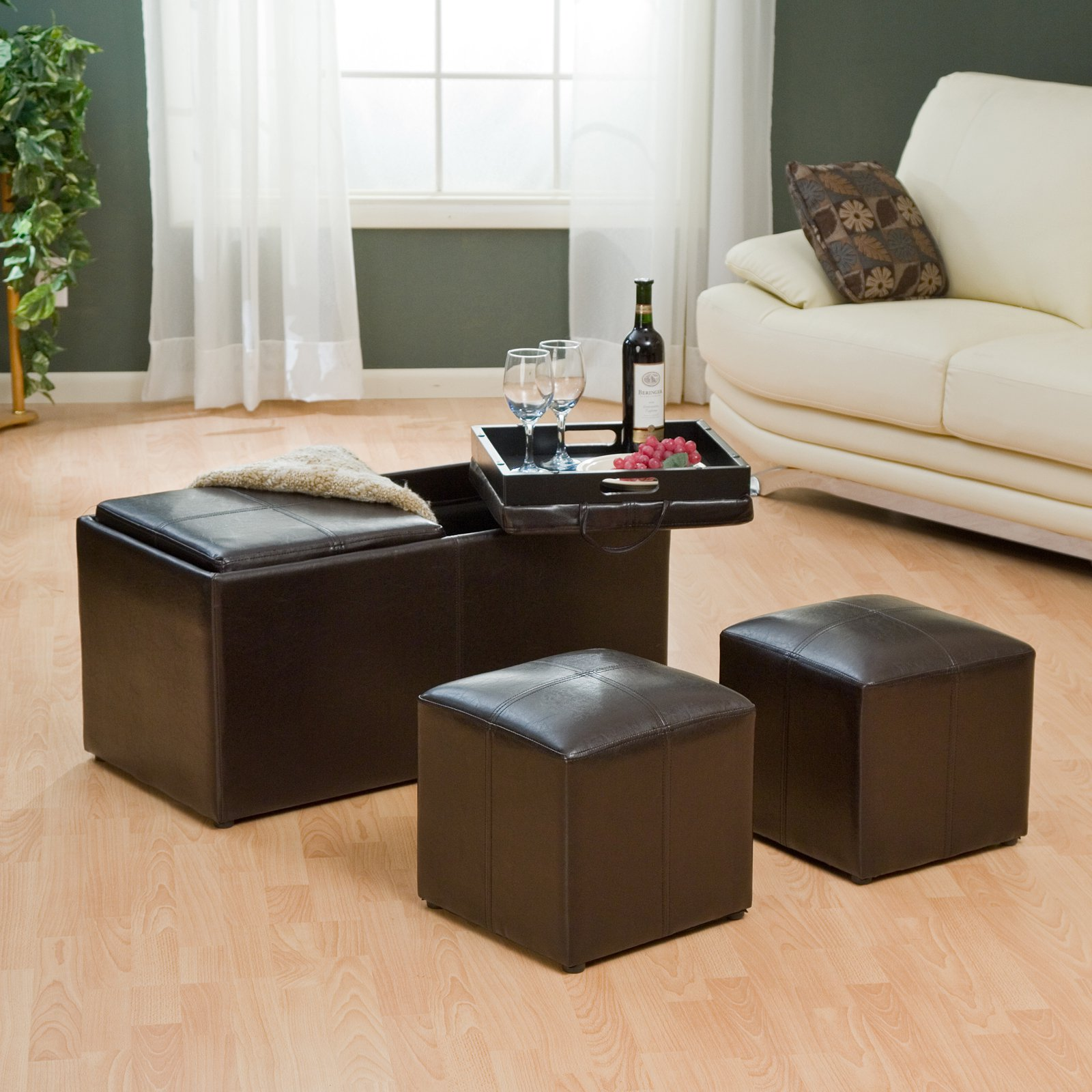 Superbe Jameson Double Storage Ottoman With Tray Tables   Walmart.com