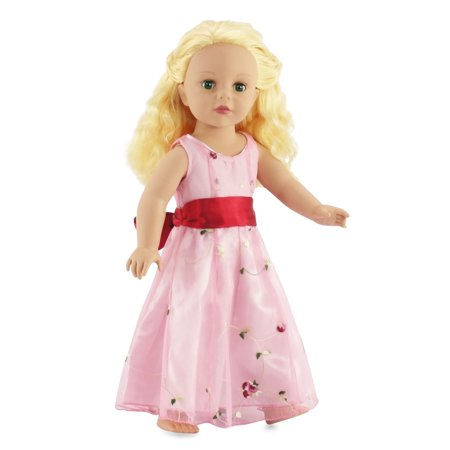 18 Inch Doll Party Dress | Fits American Girl Dolls | Embroidered Bow Fancy Floral Dress - Ideas For Couples Fancy Dress