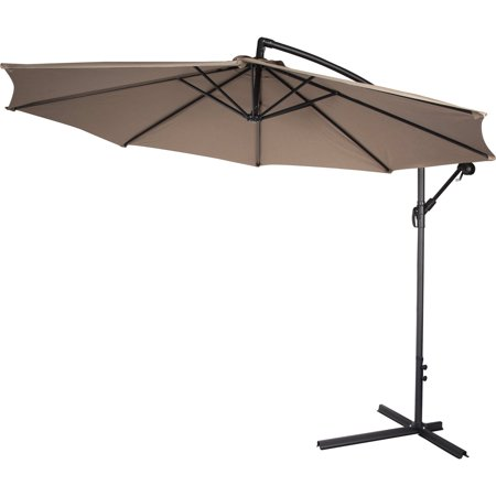10 39 deluxe polyester tan offset patio umbrella