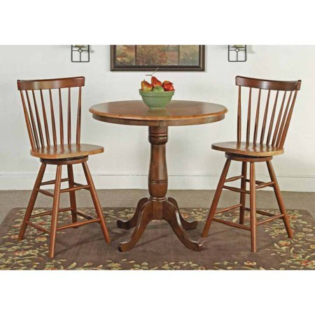 36 Round Counter Height Pedestal Table With 2 Copenhagen Stools