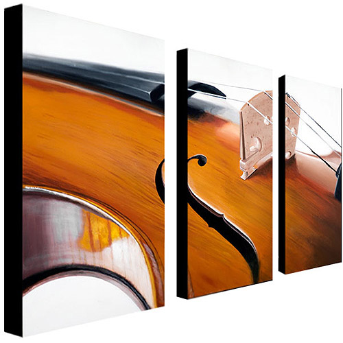 "Trademark Art ""Music Store II"" Canvas Art by Roderick Stevens 3-Panel Set"