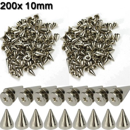 200 x 10mm Silver Spots Cone Screw Metal Studs Leather craft Rivet Bullet Spikes