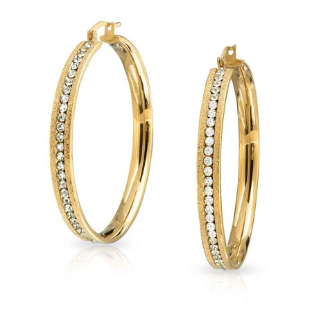 Gold Plated Channel Set (Round Channel Set CZ Large Hoop Earrings Stardust Brush Matte Finish Channel Set CZ Gold Plated Stainless Steel 2 In Dia )