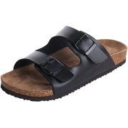 OwnShoe Mens Arizona 2-Strap Metal Adjustable Buckles PU Leather Platform Sandals Slid-on Cork Footbed Sandals