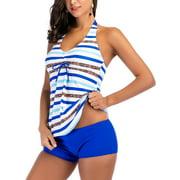 S-5XL Plus Size Women Tankini Set Swim Top+Shorts Halterneck Backless Two-Piece Swimsuit Swimwear Padded Push-Up Bra Swimming Bathing Suit Beachwear