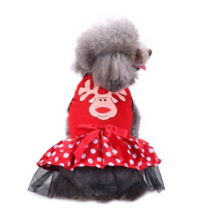 SWEETLIFE Cute Cartoon Pet Dog Cat Christmas Costume Lace Dress For Small Dog