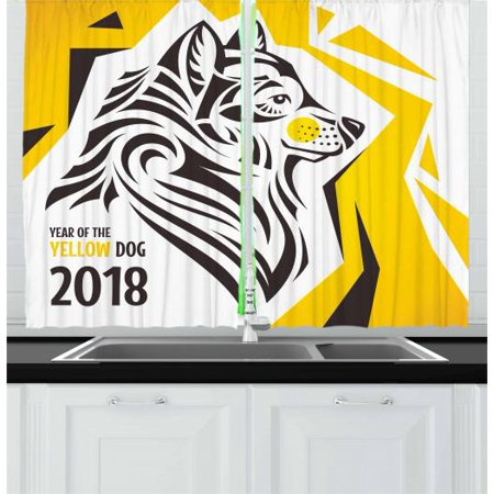 Year of the Dog Curtains 2 Panels Set, Oriental Geometric Design with Abstract Canine Motif New Year, Window Drapes for Living Room Bedroom, 55W X 39L Inches, Charcoal Grey Yellow, by Ambesonne (New Oriental Motor)