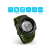 OCT17 Men's Mens Digital Sports Outdoor Watch Military Army Waterproof Fashion Casual Wristwatch Calendar Stopwatch Alarm LED Light - Army Green