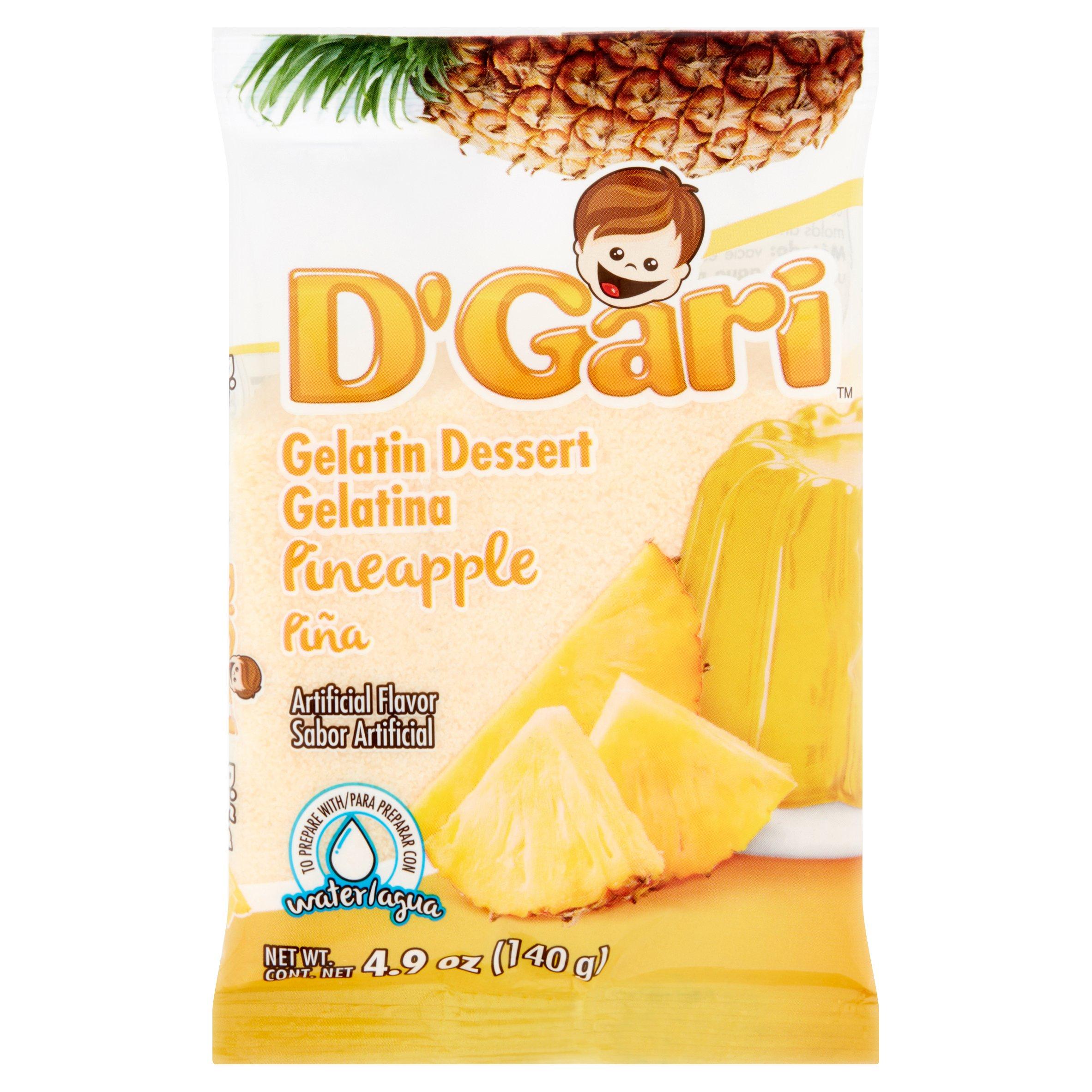 D'Gari Pineapple Gelatin Dessert, 4.9 oz by Productos Alimenticious Y Dieteticos Relampago, S.A. DE C.V.