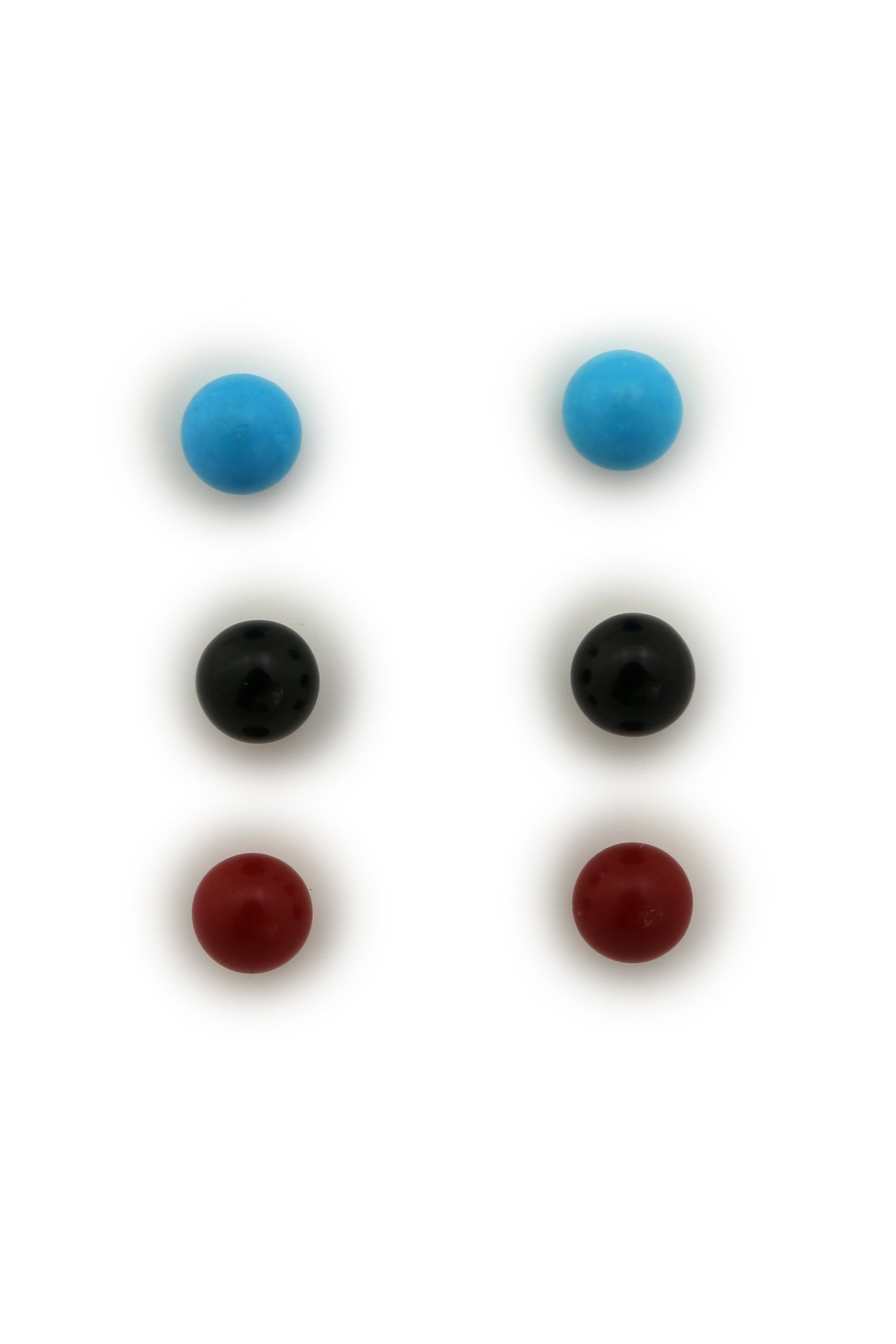 14k Yellow or White Gold 5mm Simulated Turquoise, Simulated Coral, Simulated Onyx Ball Earrings Set by