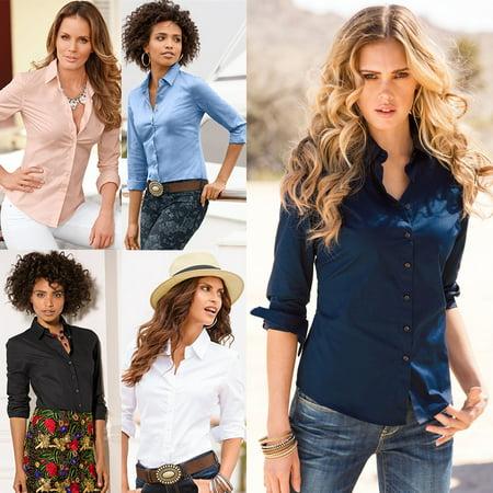 Blue Plaid Casual Shirt (Casual Womens Ladies OL Loose Long Sleeve Work Shirt Blouse Tops )