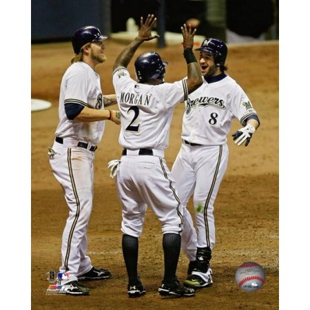 Ryan Braun is congratulated by Nyjer Morgan & Corey Hart after hitting a 3 run home run to help the Brewers win the National League Central Division Photo Print