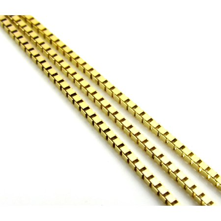 10K Yellow Gold Men Women's 1.0MM Box Necklace Link Spring Clasp, 16-24 Inches - 10k Gold Star 3/4 Pendant
