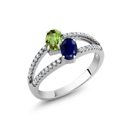 1.46 Ct Oval Green Peridot Blue Sapphire Two Stone 925 Sterling Silver Ring