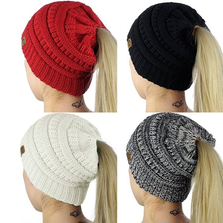 Obstce (Asian Size)Fashion Women Soft Knitted Bun Ponytail Hat Crochet Warm Sports Beanie Cap