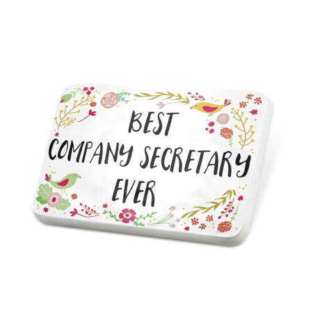 Secretary Pin (Porcelein Pin Happy Floral Border Company Secretary Lapel Badge – NEONBLOND )