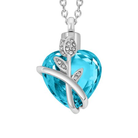 SmartChoice Urn Keepsake Rhinestone Necklace Rose Heart Pendant for Cremation Ashes with Beautiful Presentation Gift Box, Elegant Memorial Jewelry with Stainless Chain and Accessories, Rose Design Urn