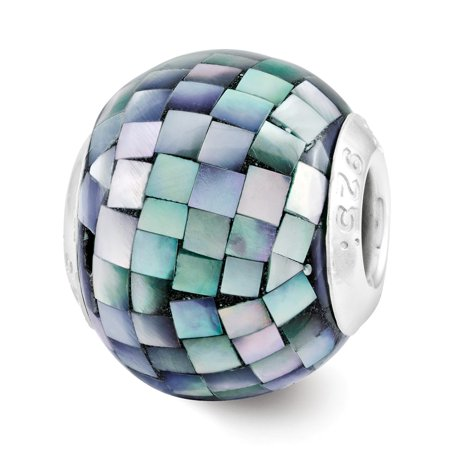 Black Mosaic Mother Of Pearl (Black Mosaic Mother of Pearl, Glass & Sterling Silver Bead)