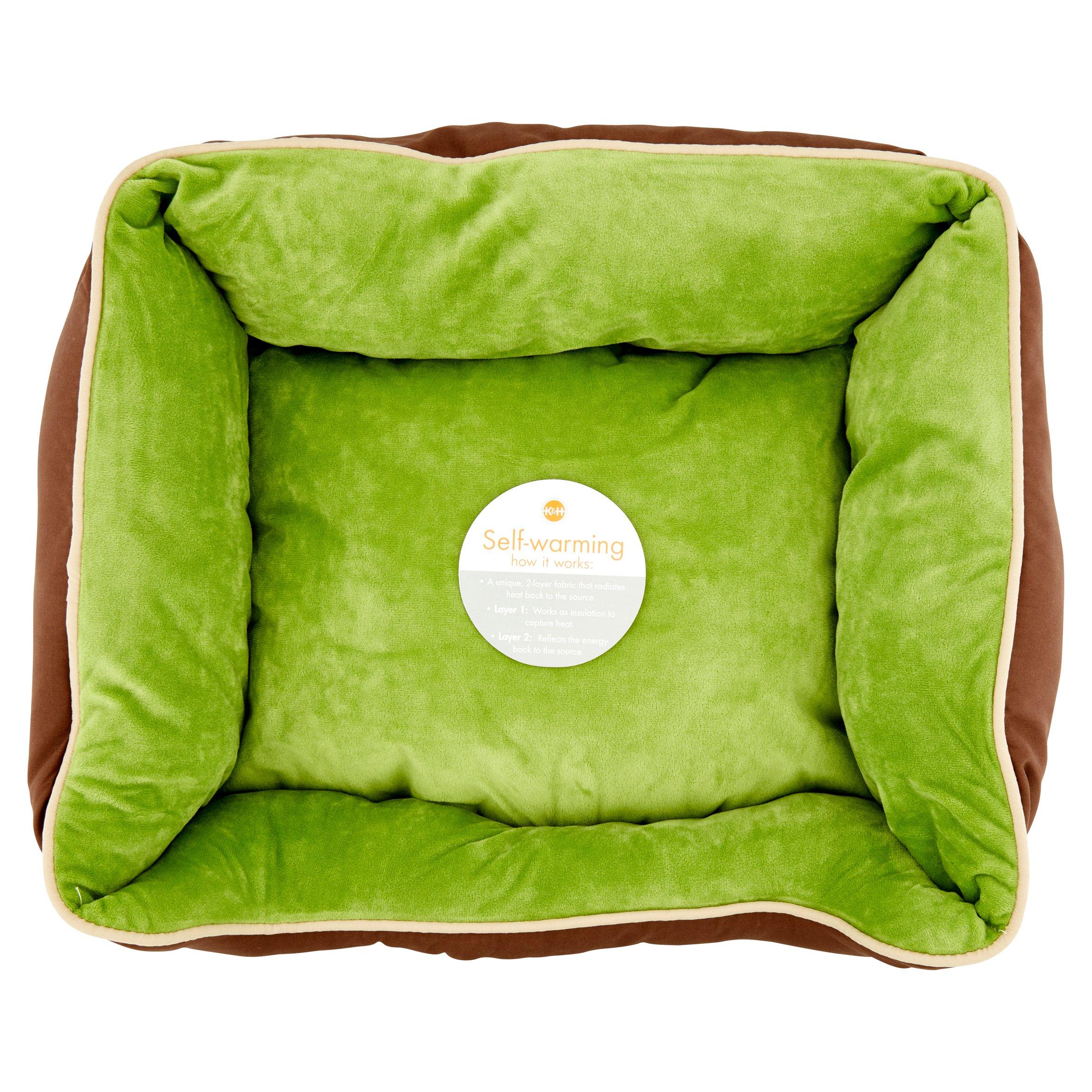 "K&H 16""x20"" Mocha/Green Self-Warming Lounge Sleeper"