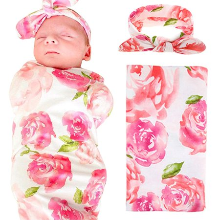 GLiving Newborn Baby Swaddle Blanket and Headbands Set Soft Floral Wrap Receiving Blankets for Spring Summer Baby Boys,Baby