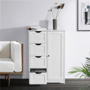 Yaheetech Wooden Bathroom Floor Cabinet, Side Storage Organizer Cabinet with 4 Drawers and 1 Cupboard, White