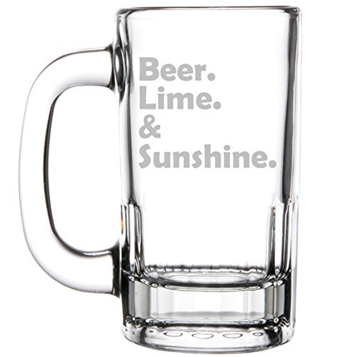 12oz Beer Mug Stein Glass Funny Beer Lime & Sunshine by