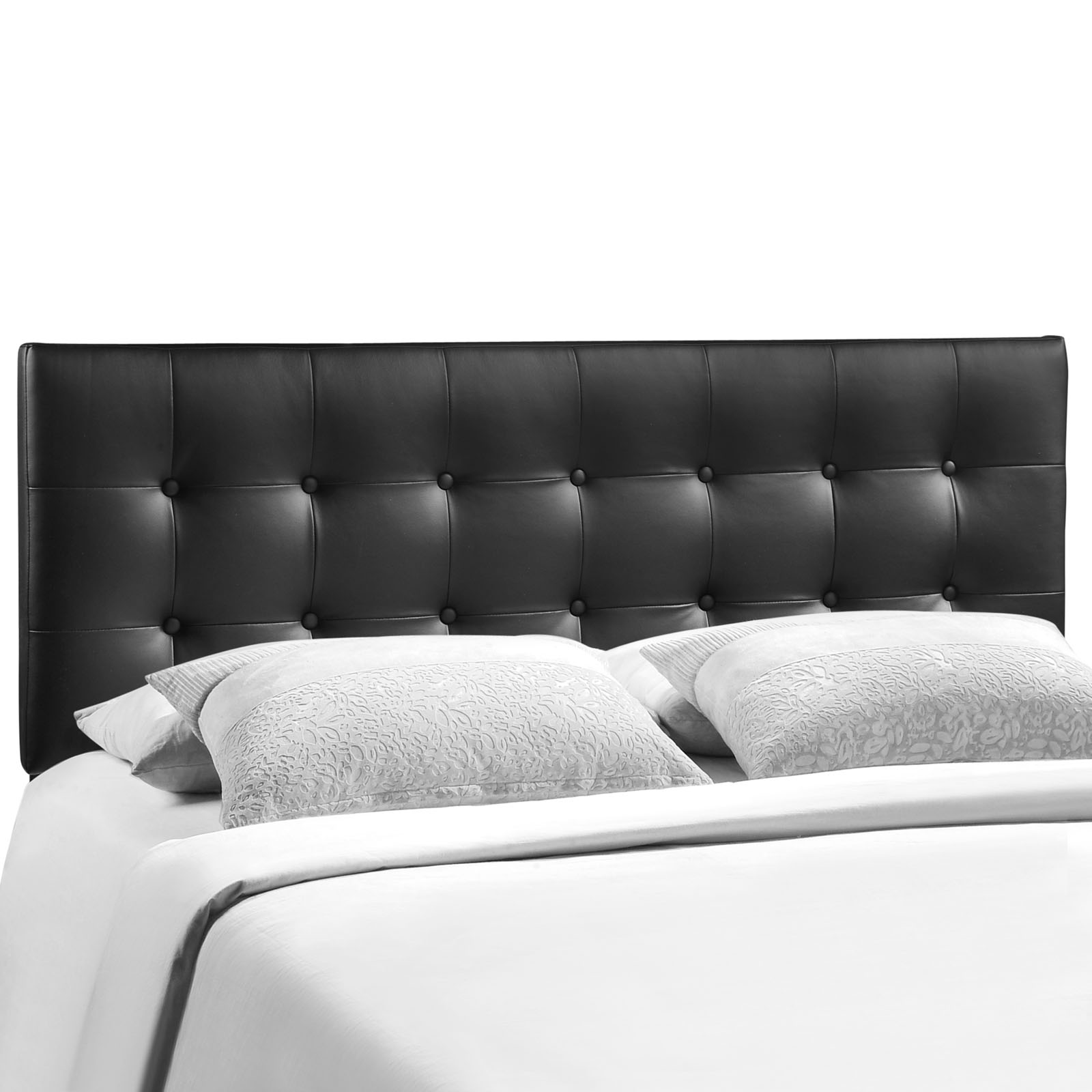 Modern Contemporary King Size Vinyl Headboard, Black Faux Leather