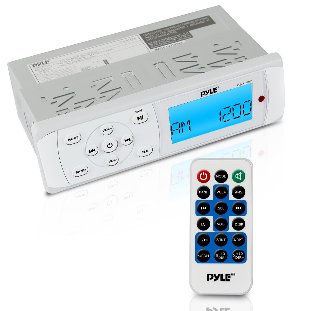 PYLE PLMR14BW - Bluetooth Marine Stereo Radio - Waterproof/Weather Proof Single DIN 12v Boat Receiver with Digital LCD, RCA, MP3 / USB, AM FM, Weatherband - Wiring Harness, Remote Control -(White)