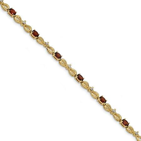 Yellow Gold Garnet Bracelet (14k Yellow Gold Diamond and Garnet 7.5inch Tennis Bracelet 3.01Cttw )