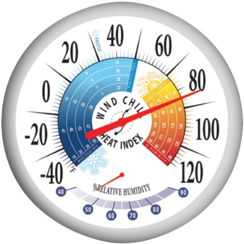 """SPRINGFIELD TAP90078W Springfield Round 13.25inch Outdoor Thermometer with Wind Chill-Heat Index and  Hygrometer"""