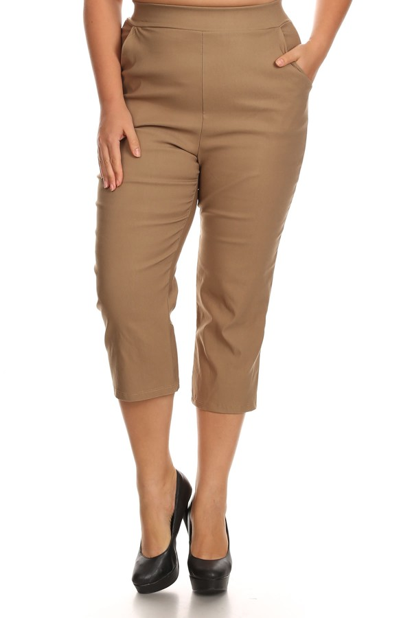 Women's PLUS Size Trendy Style Solid Cropped Pants