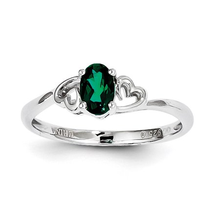 Ladies 925 Sterling Silver May Birthstone Created Emerald Heart Ring Size