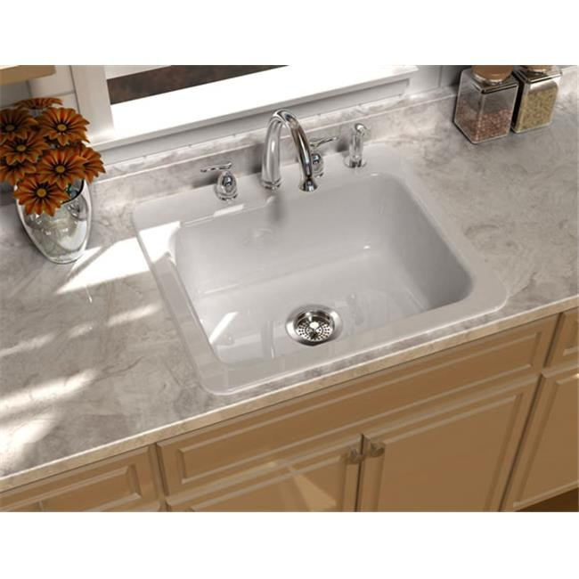 SONG S-8210-4-61 Single Bowl Kitchen Sink in Biscuit with 4 Faucet Holes