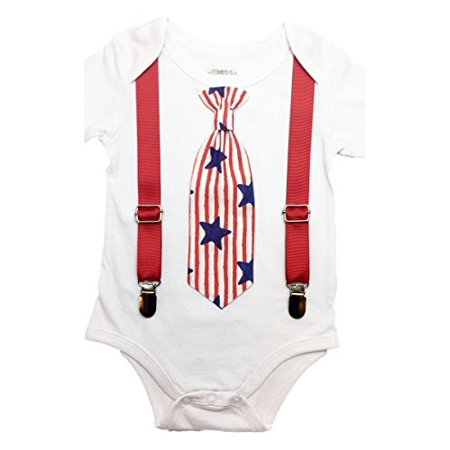 c706eeaec42bc Noah's Boytique - Noah's Boytique Baby Boys 4th of July Outfit Patriotic Baby  Boy Clothes Stars and Stripes Bodysuit Tie and Red Suspenders Newborn ...