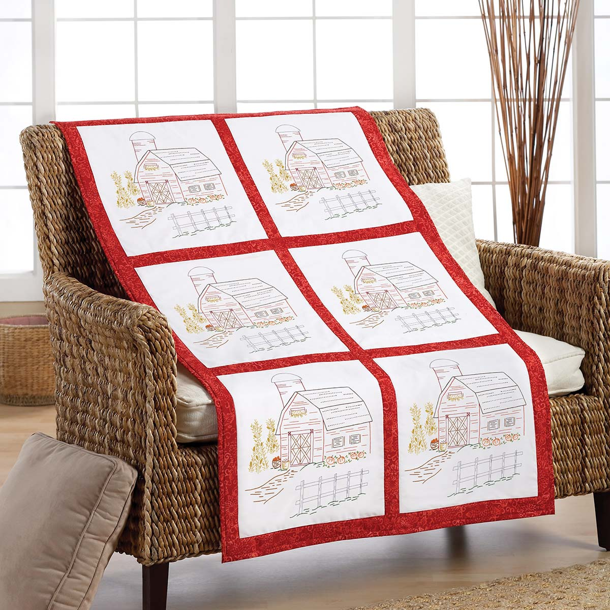 Herrschners® Down on the Farm Quilt Blocks Stamped Embroidery