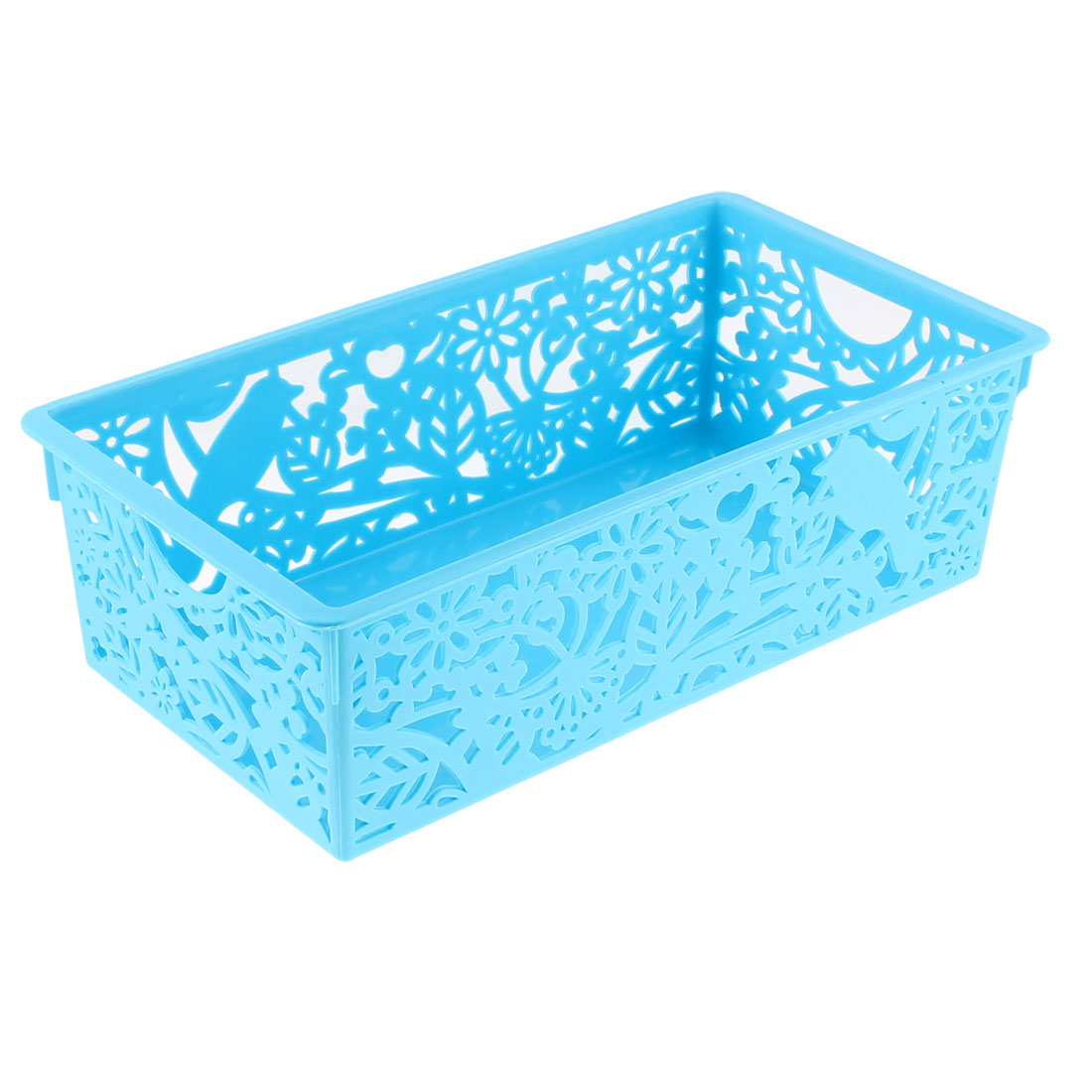 Home Plastic Hollow Out Floral Design Storage Basket 28cmx15cm Green