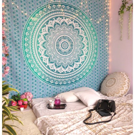 Blue Indian Wall Hanging Ombre Tapestry Boho Mandala Hippie Tapestries Bohemian Mandala Tapestry Indian Gold Throw Beach Picnic Blanket