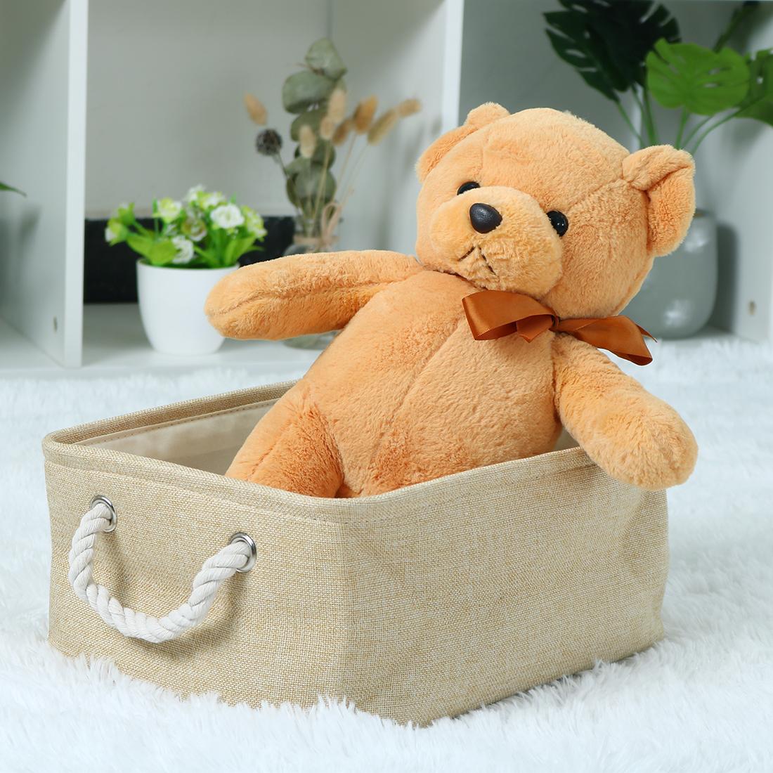 Home Fabric Storage Basket Bin w Dual Rope Handles for Laundry Khaki, Small - image 2 de 8